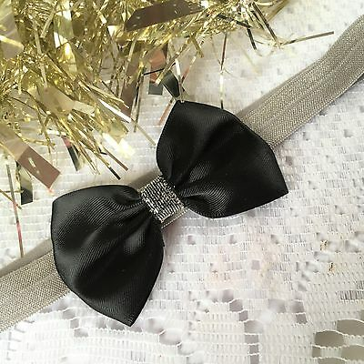 Baby Girl Christmas Headbands with Large Satin Bow Black Red Silver Gold