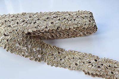 ATTRACTIVE INDIAN BRAID FABRIC LACE TRIM WITH GOLD FLORAL PATTERN- SOLD by METER