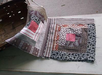 ~Back In Time Textiles~Antique 1860 Log Cabin cutter quilt piece ~