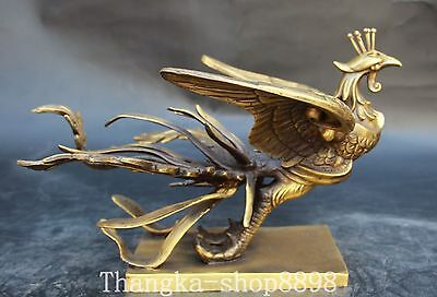 "11"" Chinese Fengshui Pure Bronze Handwork Carving Auspicious Phoenix Statue"