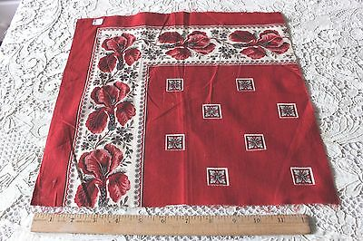 "French Antique c1870 Printed Cotton Bandana Sample~Turkey Red~13"" Square*"