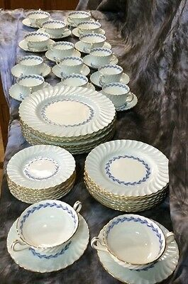 Minton Cheviot 56pc China Set, S451 Service for 8.  Blue with Gold Trim