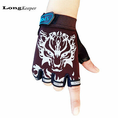 Kids Gloves Fingerless Sport Boys Girls Children Cartoon Mitten Black Red Blue