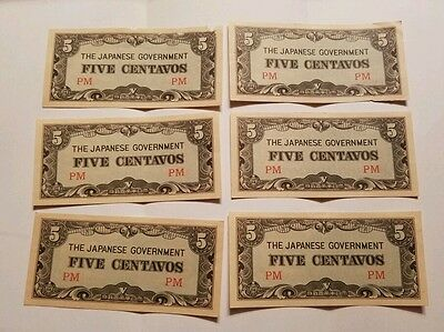 Lot of 6 Obsolete Japan Gov't occupation money~FIVE CENTAVOS-Philipines-1942.