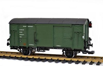Zenner covered goods wagon green, converted by Track G to Gauge 2 (64mm, 1:22,5)