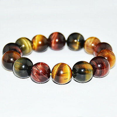 10MM Natural Colorful Tiger Eye Stone Gemstone Beads Men Jewelry Bracelet Bangle