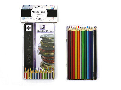12 pc Metallic Pencils Includes Tin Storage Box SKETCH ARTIST ART COLOUR