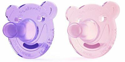 Philips AVENT Soothie Bear Shape Pacifier, Pink/Purple, 0-3 Months, 2 Count New