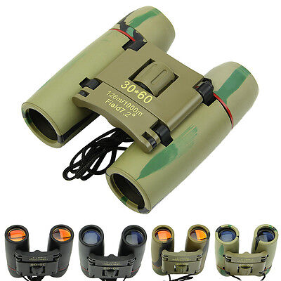 Day Night Vision 30 x 60 Zoom Travel Outdoor Folding Binoculars Telescope + Bag