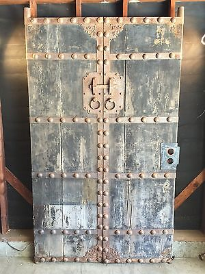 Antique Wood Doors with Wrought / Strap Iron Details - Double Wood Doors