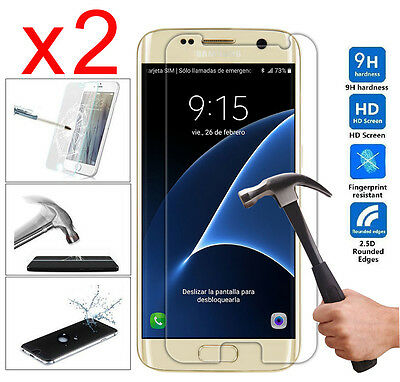 2x Premium Real Tempered Glass Film Screen Protector Cover for Samsung Galaxy S7