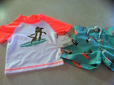 """NWT Carter's """"Surfing Dog"""" 2-Pc Rash Guard Swimsuit Trunks Boys 24 Months New"""