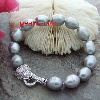 Huge AAA 11-13mm Natural south sea gray pearl bracelet 8 inch
