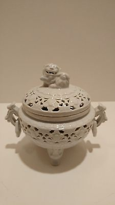 footed white chinese censer with animal lid