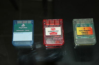 LOT 3 X Cartes mémoires PS1  (  Console Sony Playstation - Retrogaming )