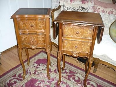 Pair Vintage French Walnut Bedside Tables