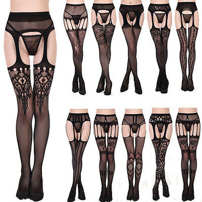 1pc Lady Sheer Sexy Fishnet Lace Top Thigh-Highs Stockings Garter Belt Suspender