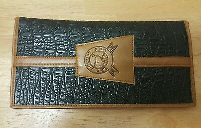 Vintage Snoopy Check Book Cover Black & Tan Faux Leather