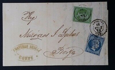 1874 Greece Folded Letter ties 2 Hermes stamps cancelled Corfu