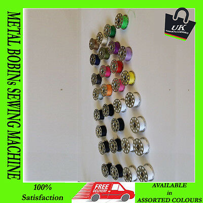 ASSORTED COLORS 30 x METAL BOBBINs SEWING MACHINE STANDARD SPOOLS