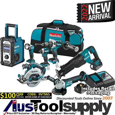 Makita 18V 5Ah Lithium Ion Cordless 7 Tool Combo Kit Lxt702 2017