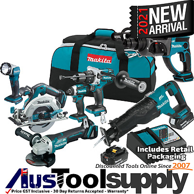 Makita 18V 5Ah Lithium Ion Cordless 7 Tool Kit Lxt601 Rotary Hammer 2017