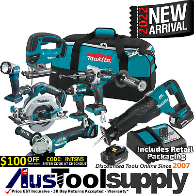 Makita 18V 5Ah Lithium Ion Cordless 7 Tool Combo Kit Lxt601 Jigsaw 2017