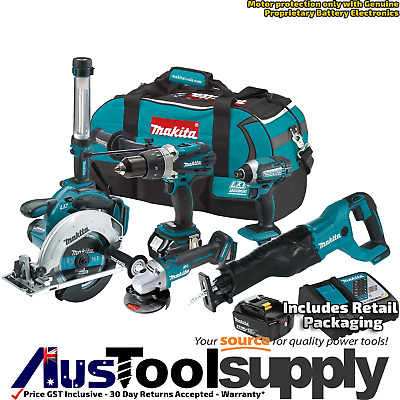 Makita Premium 18V 5Ah Lithium Ion Cordless 6 Tool Combo Kit 2017