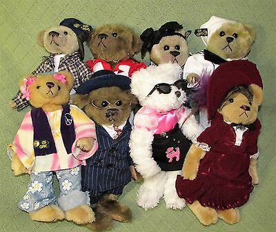 "8 Brass Button Bear Lot Jointed Plush Pickford 20th Century Collection 12"" Tall"