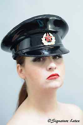 Latex Military peaked hat/cap in Black with Russian badge size 58