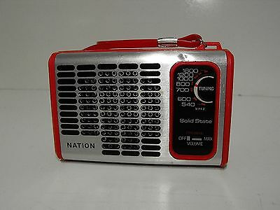 Vintage Red Nation AM Transistor Radio Works Great.