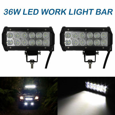 2X 7Inch 36W Led Work Light Bar Flood Lamp Spot Beam Offroad Ute Truck 4Wd