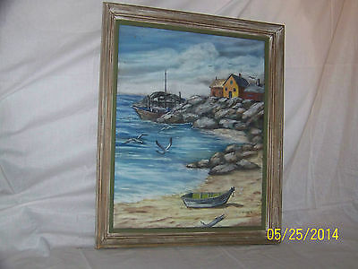 WPA Original Oil On Panel SeascapeTown Painting Glass Front Framed