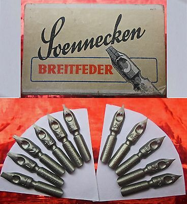 A collection of 11 different vintage SOENNECKEN Breitfeder nibs