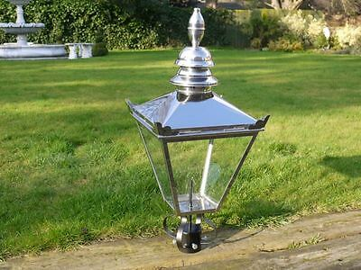 88cm Tall Stainless Steel Large Victorian Lantern Lamp Post Top Garden Lighting