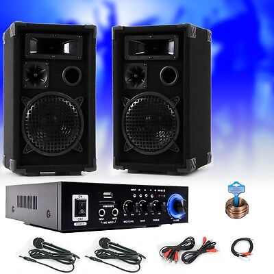 PA karaoke music system speakers amp Bluetooth USB SD MP3 SD 2 x microphone