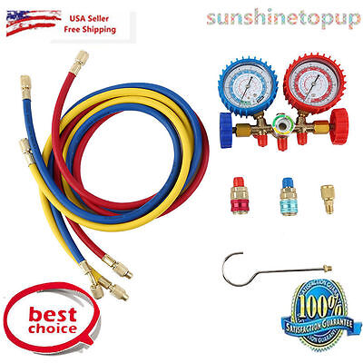 R134a R12 R22 AC A/C Manifold Gauge Set 5FT Colored Hose Air Conditioner Refrige
