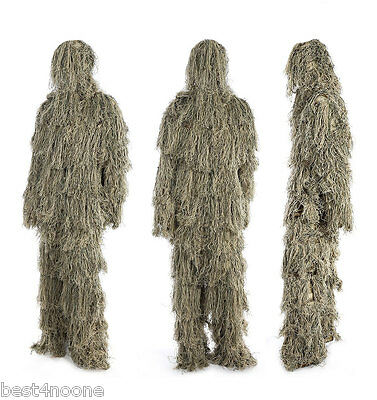 Camouflage Jungle Hunting Ghillie Suit Set Sniper Woodland Birdwatching Poncho