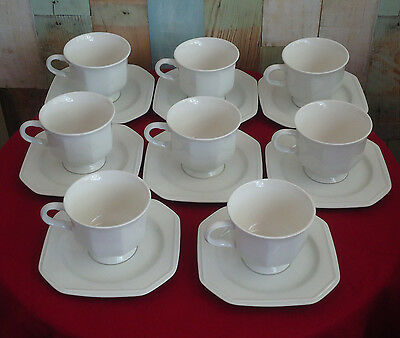 Vintage Mikasa Cup & Saucer Duos x 8 *Continental White F3000 *Made in Japan