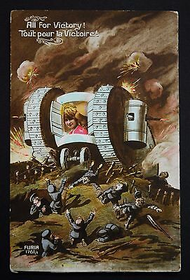 WW1 Postcard Tank In Action Killing Kaiser Bill German Soldiers All For Victory