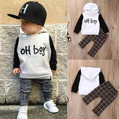 Cute Baby Boys Hooded Tops +Long Pants 2Pcs Outfits Set Clothes Tracksuit UK