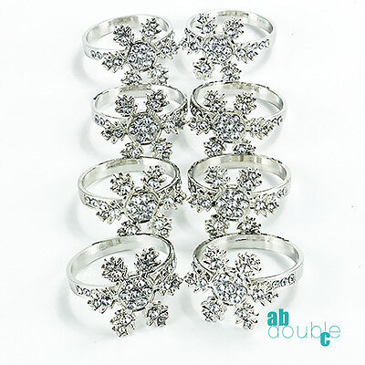 8 X Snowflake Diamante Napkin Rings Wedding Party Xmas Dinnner Table Decorations