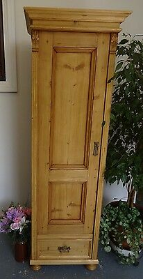 Vintage Tall Thin Wooden Cupboard Cabinet Left Hand Opening