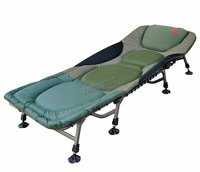 Portable Carp Fishing Bed Chair Bedchair Camping 8 Adjustable Legs Pillow FB-022