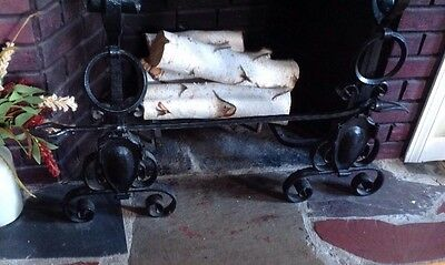Antique Pair Wrought Iron Andirons Fireplace Hearth Fire Dogs Gothic Crossbar