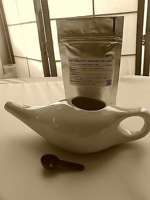 NetiHealth™ Ceramic Neti Pot + 50g Organic Neti Salt (Smokers,Speakers,Singers)
