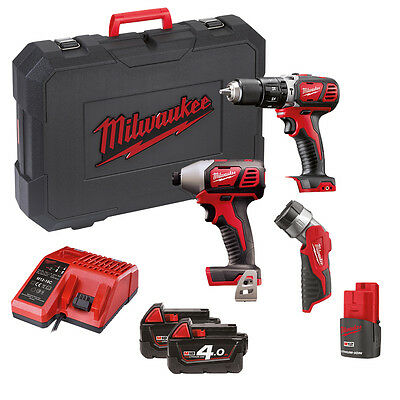MILWAUKEE - 18v Compact Percussion Drill & Impact Driver with 2 x 18v Batteries