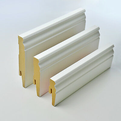 2.5m D-PROFILE MDF SKIRTING BOARD trunking scotia cover floor wall hamburger new