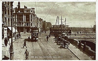 Postcard of Eden Quay from Bachelors Walk, Dublin - showing trams - unused