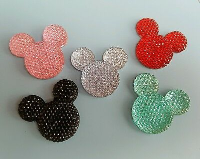 3 large Minnie Mikey mouse cabochons flatbacks craft 5 colours available